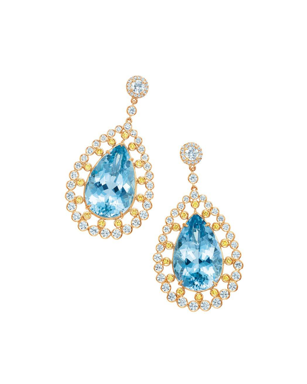 Tiffany 18K金鑲嵌總重14.90克拉海水藍寶及黃鑽與白鑽耳環,229萬...