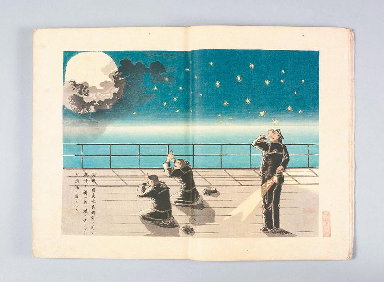 圖3:黃海海戰前夕,日本旗艦松島艦的水手在星光月夜下祈禱。 周密/圖片提供