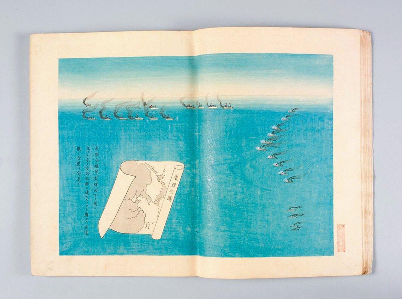 圖4:日本艦隊航向北洋艦隊的右翼,猛攻超勇和揚威兩艘弱艦。 周密/圖片提供