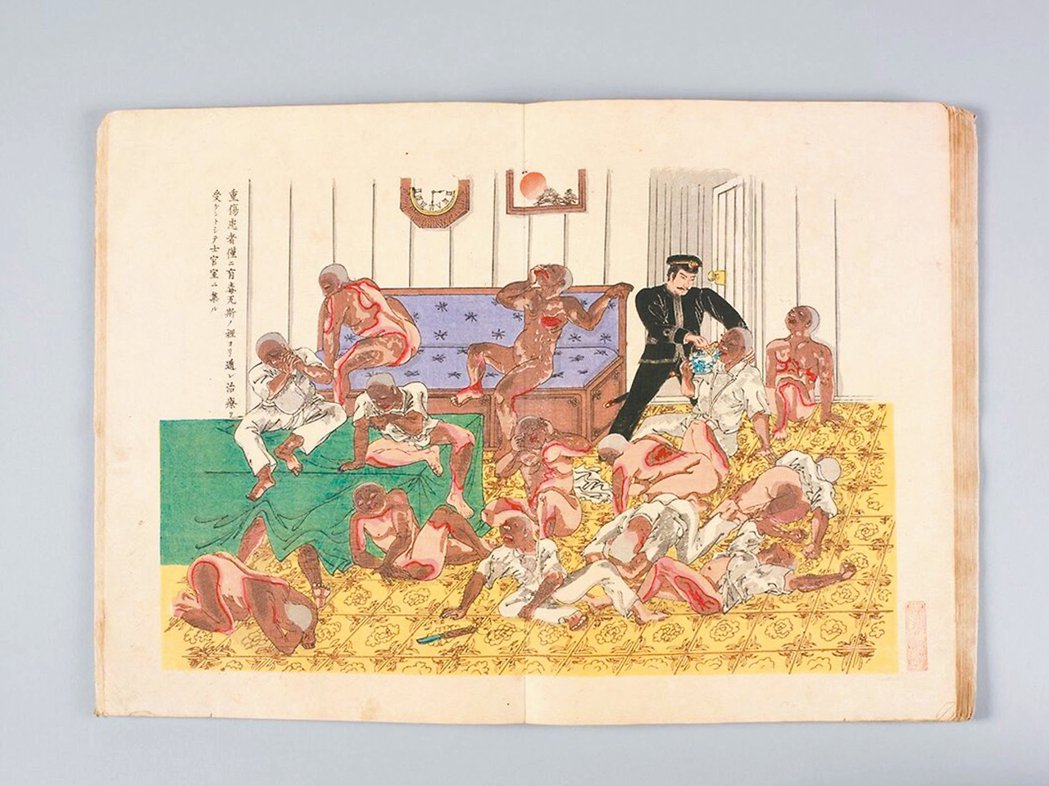 圖8:松島艦軍官室中,重度燒傷病患向木村浩吉討水喝。 周密/圖片提供