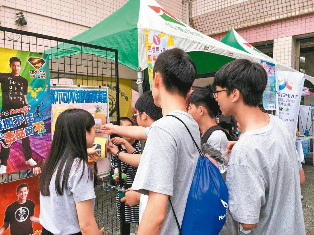 台北市少年警察隊舉辦反毒宣導活動,教導青少年辨識新興毒品樣態,認知毒品危害及法律...