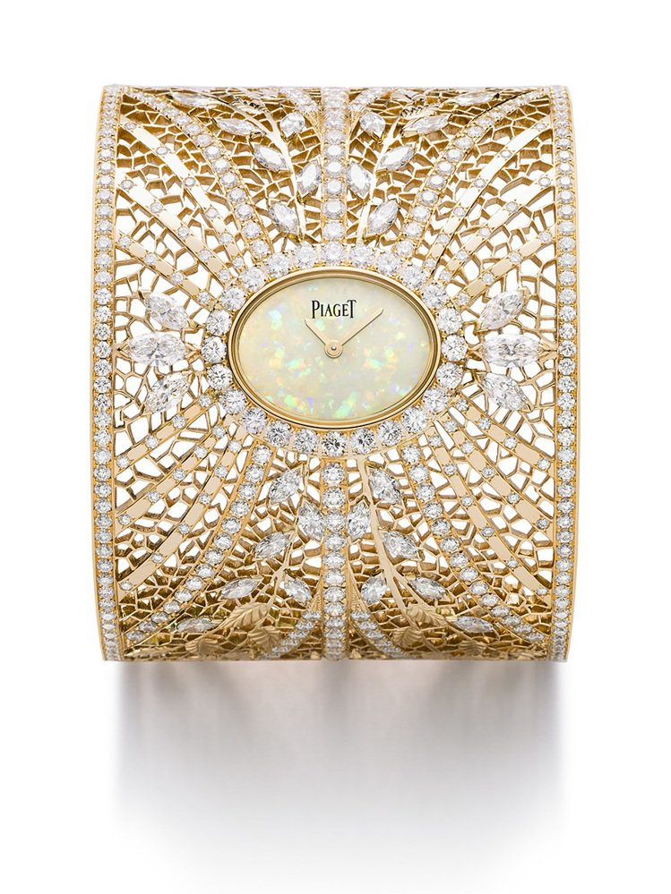 高級珠寶金質蕾絲手鐲表,18K玫瑰金金質蕾絲鑲嵌鑽石、白色蛋白石表盤、石英機芯,...