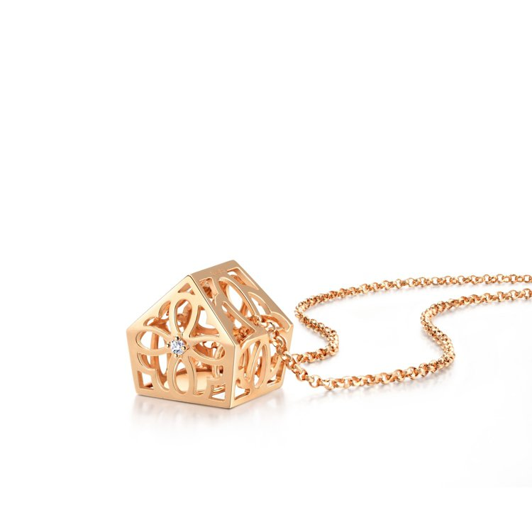 Love Décodé「愛情密語」18K玫瑰金鑽石頸鍊,12,800元。圖/點睛...