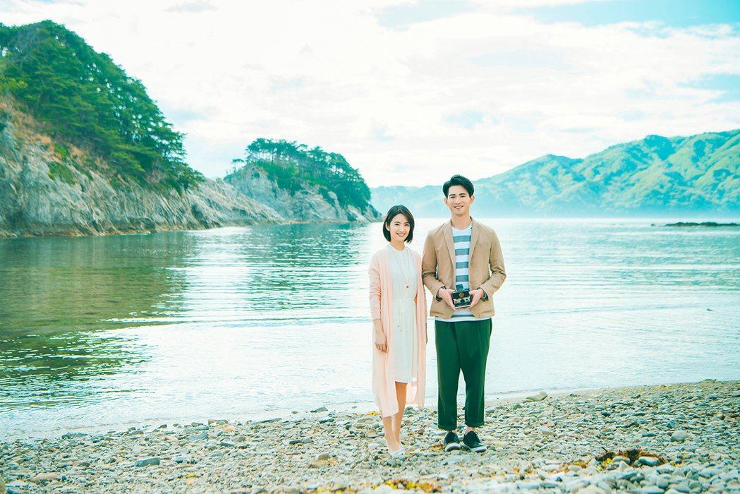 簡宏霖、林依晨日前到日本拍攝日本觀光形象代言。圖/日本觀光局、周子娛樂提供