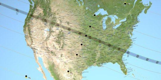 這次日全食從美國西北岸的俄勒岡州,橫跨到東南岸的南卡羅來納州。 圖/取自NASA...