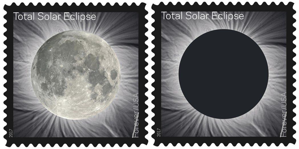 美國郵政署發行「永遠的日全食」紀念郵票,21日在日全食行經路線或附近的110多個...