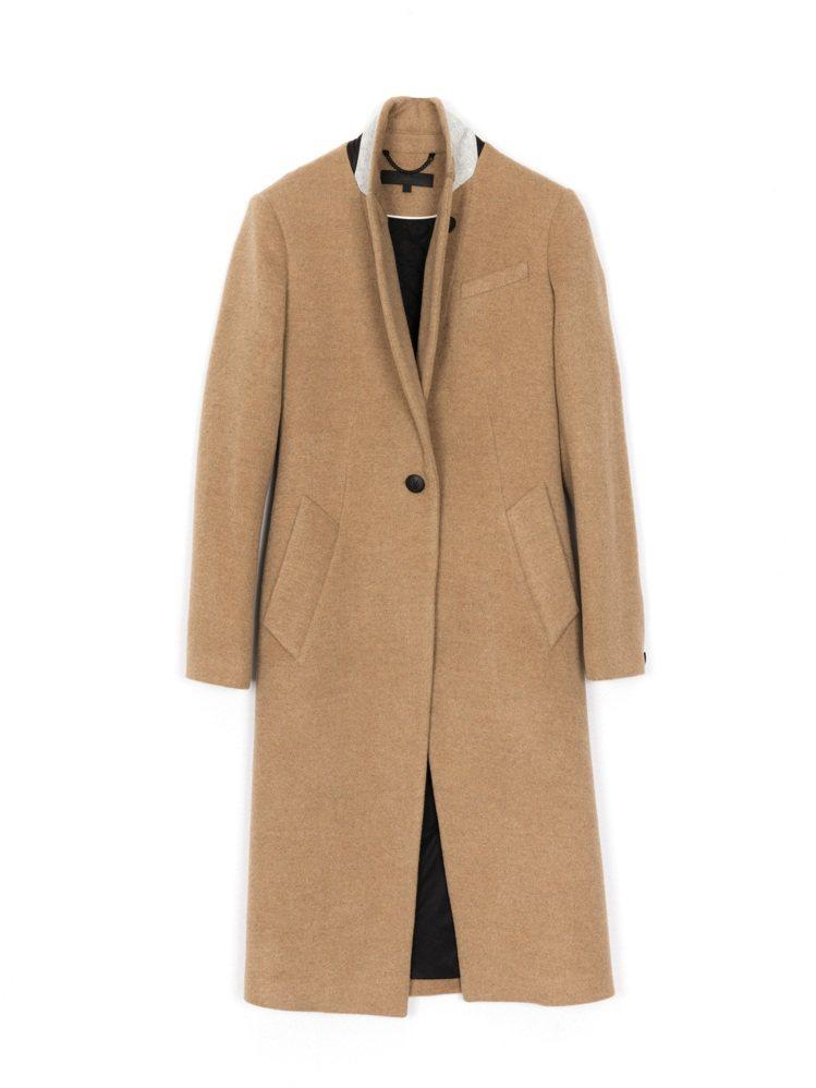 rag & bone深駝色駱駝毛Duke大衣,售價42,000元。圖/rag &...