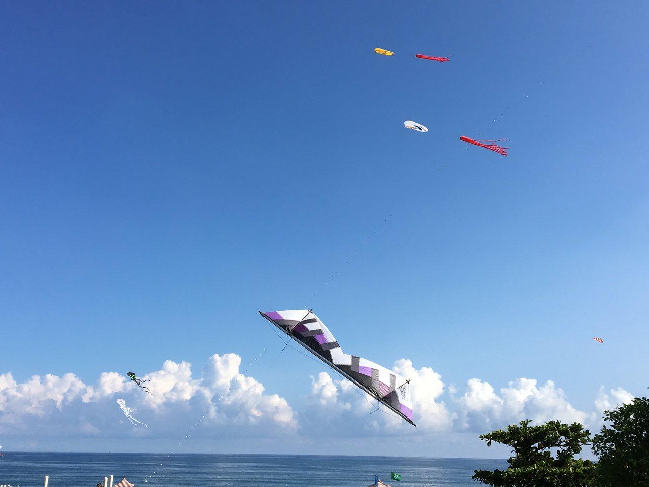 巨大風箏在天空爭奇鬥豔,讓花蓮天空很熱鬧。 記者徐庭揚/攝影