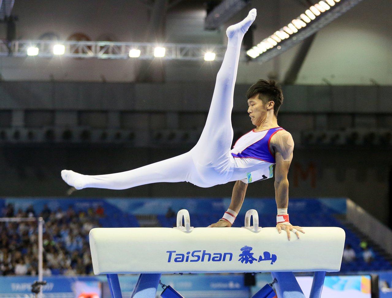 世大運在南港展覽館舉辦男子團體競技體操項目,鞍馬項目則由李智凱(圖)拿下最高分。...