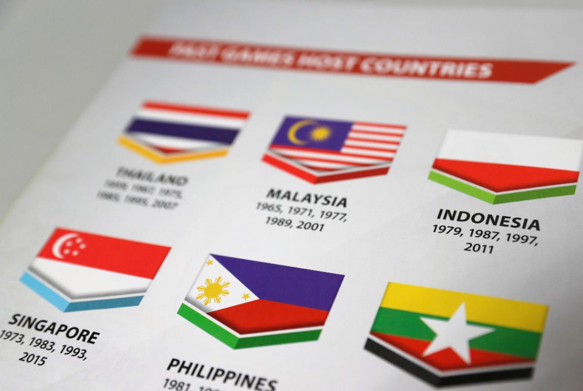 馬來西亞當局將東南亞運動會指南中的印尼國旗印成波蘭國旗(右上)。路透