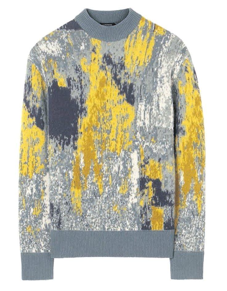 設計師品牌J.Lindeberg潑墨風格設計緹花針織毛衣,約8980元。