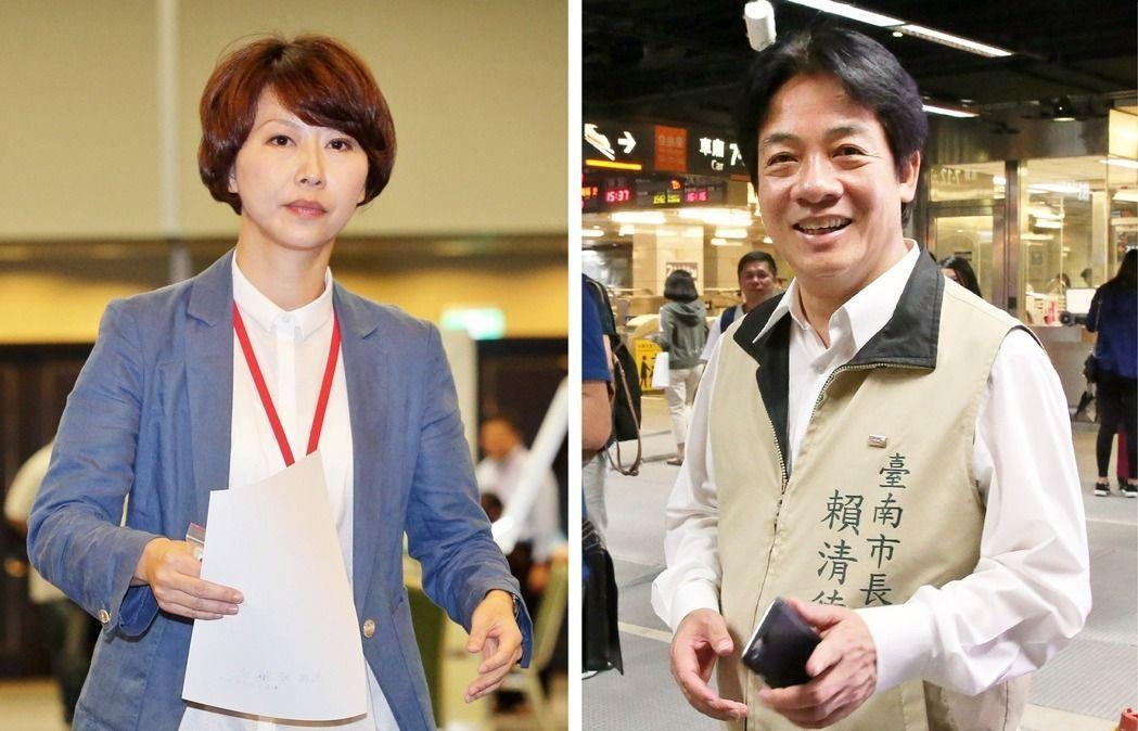 立委陳亭妃(左)、台南市長賴清德(右)。 圖/報系資料照