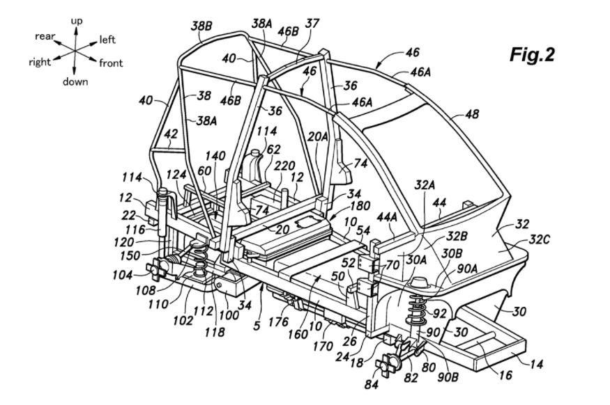 USPTO所釋出的相關專利草圖來看,車身結構有進行強化與改良。 圖片摘自:USP...