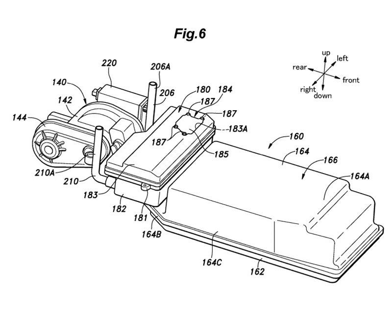 原廠將鋰電池模組與電動馬達設置於後座下方,打造低重心。 圖片摘自:USPTO