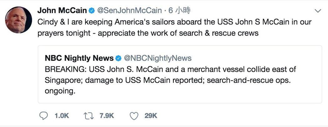 被撞美艦以美參議員馬侃父祖命名 馬侃推特祈福