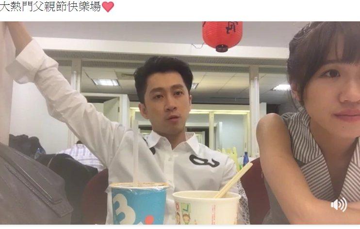 陳漢典(左)和LULU都在錄影休息過程中玩直播,單是吃宵夜這件事,就累積不少人氣...