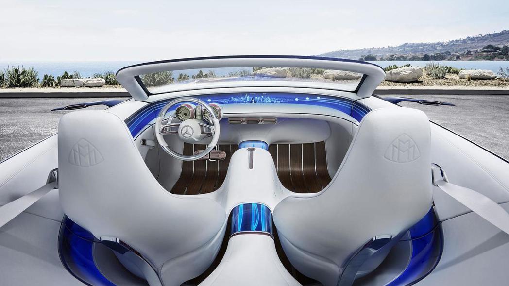 座艙主要以白色為主,搭配木紋飾板等藍色元素,打造未來感座艙。 圖片來源:Mercedes-Benz