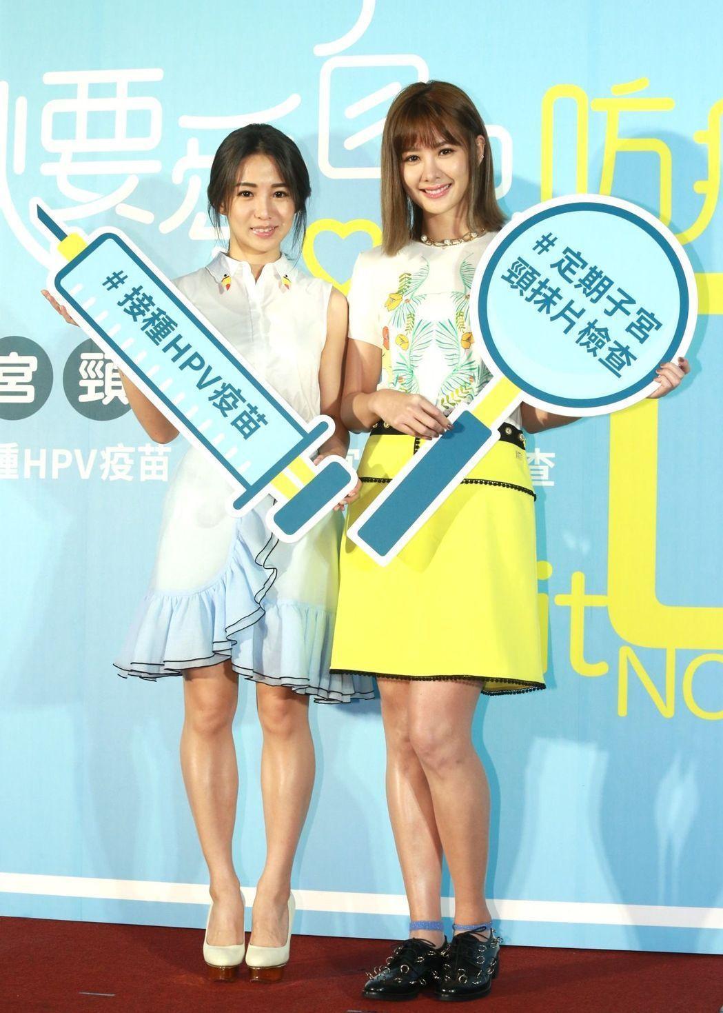 郭書瑤(左)、安心亞兩大女神聯袂出席活動。記者黃義書/攝影