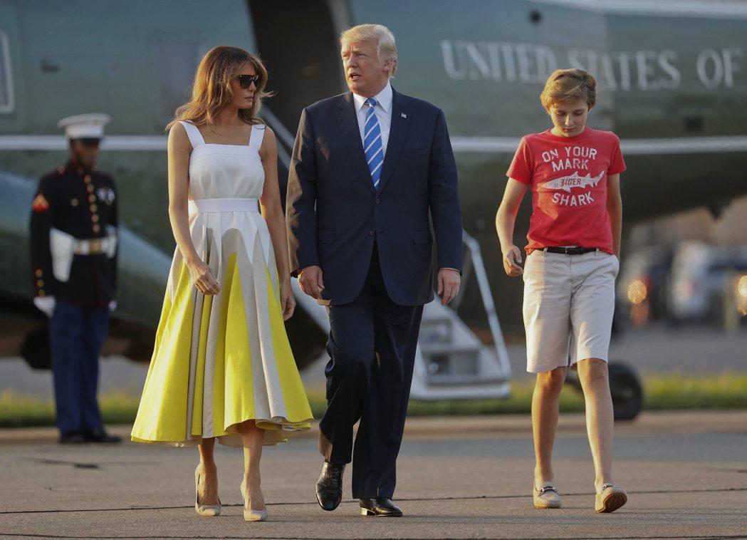 川普夫婦的么子拜倫(右)。 美聯社