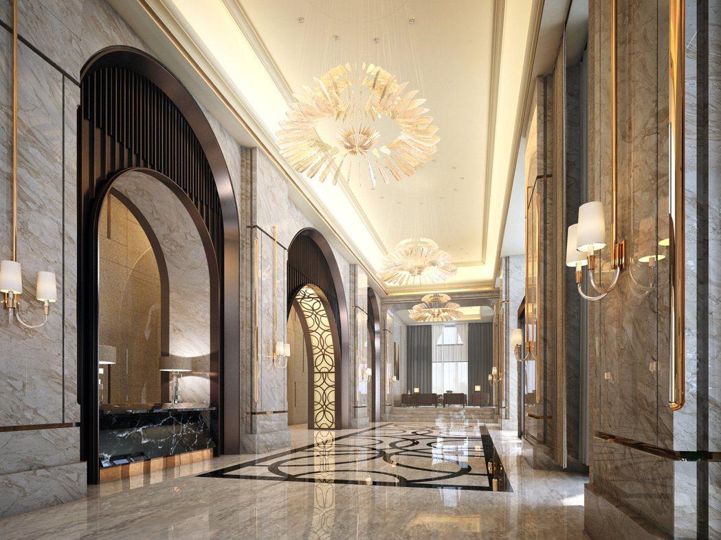 遠雄「THE ONE」豪宅的硬體規劃,是同時與飯店一起設計,迎賓大廳等都是用五星...