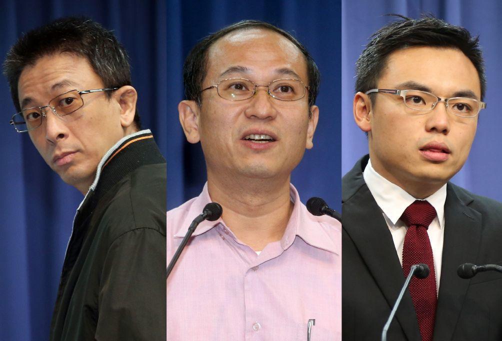 國民文傳會副主委胡文琦(左起)、唐德明、洪孟楷。 報系資料照