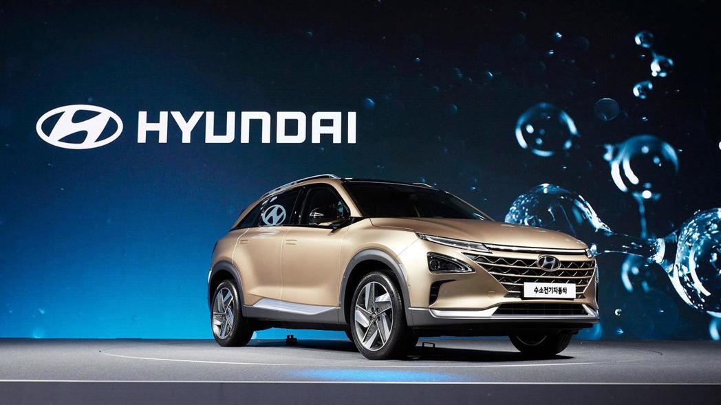 Hyundai近日在韓國首爾發表一台全新氫燃料動力車款。圖為Hyundai Ne...