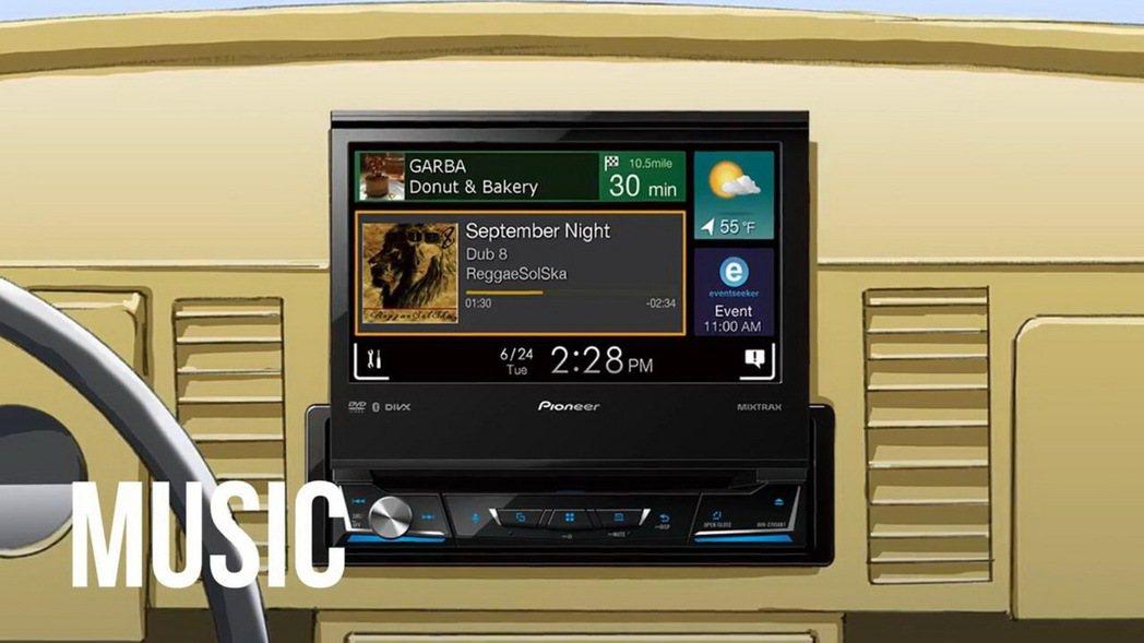 PioneerZ系列智慧型車載主機音樂播放。 圖/Pioneer提供