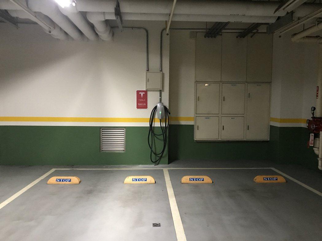 停車場裝設電動車充電設備。
