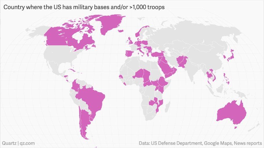圖為美國以外全球有1000名以上美軍駐守或設有美軍基地的國家地圖。取自石英新聞網...