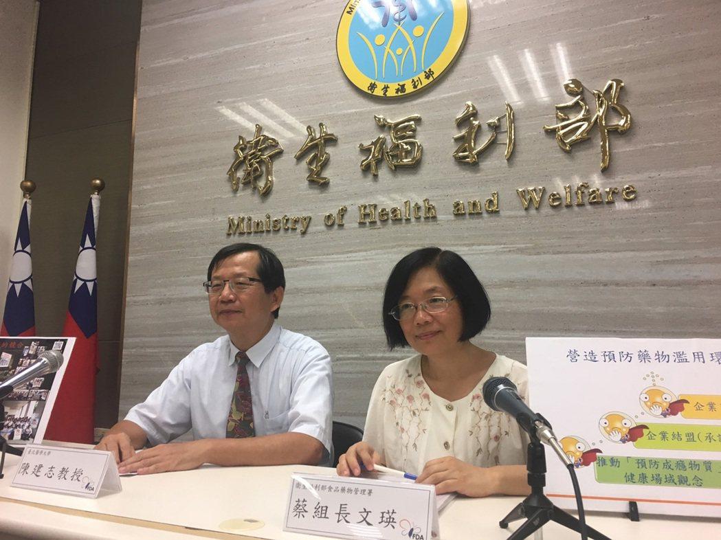 衛福部食藥署管制藥品組組長蔡文瑛(右)23日表示,根據調查,全台至少有23萬人曾...