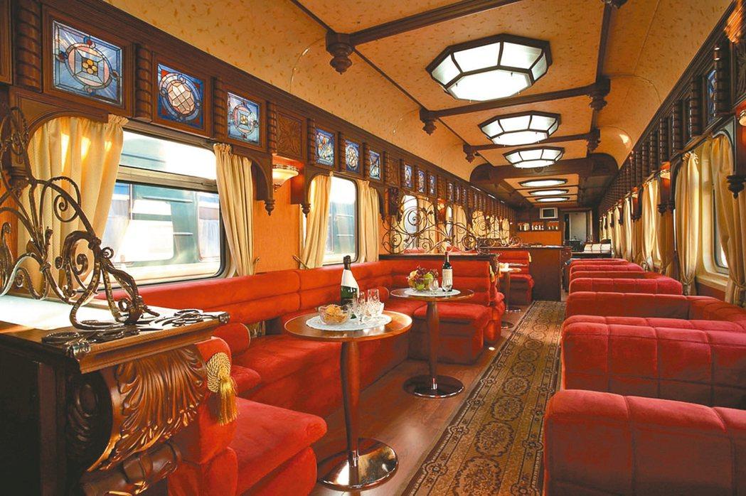 「全球十大奢華火車」之一的金鷹火車。 圖/格林旅遊