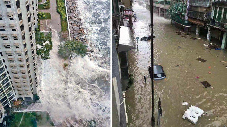 香港及澳門23日均受超強颱風「天鴿」吹襲,香港部分為位海岸旁的住宅,被巨浪拍打(...