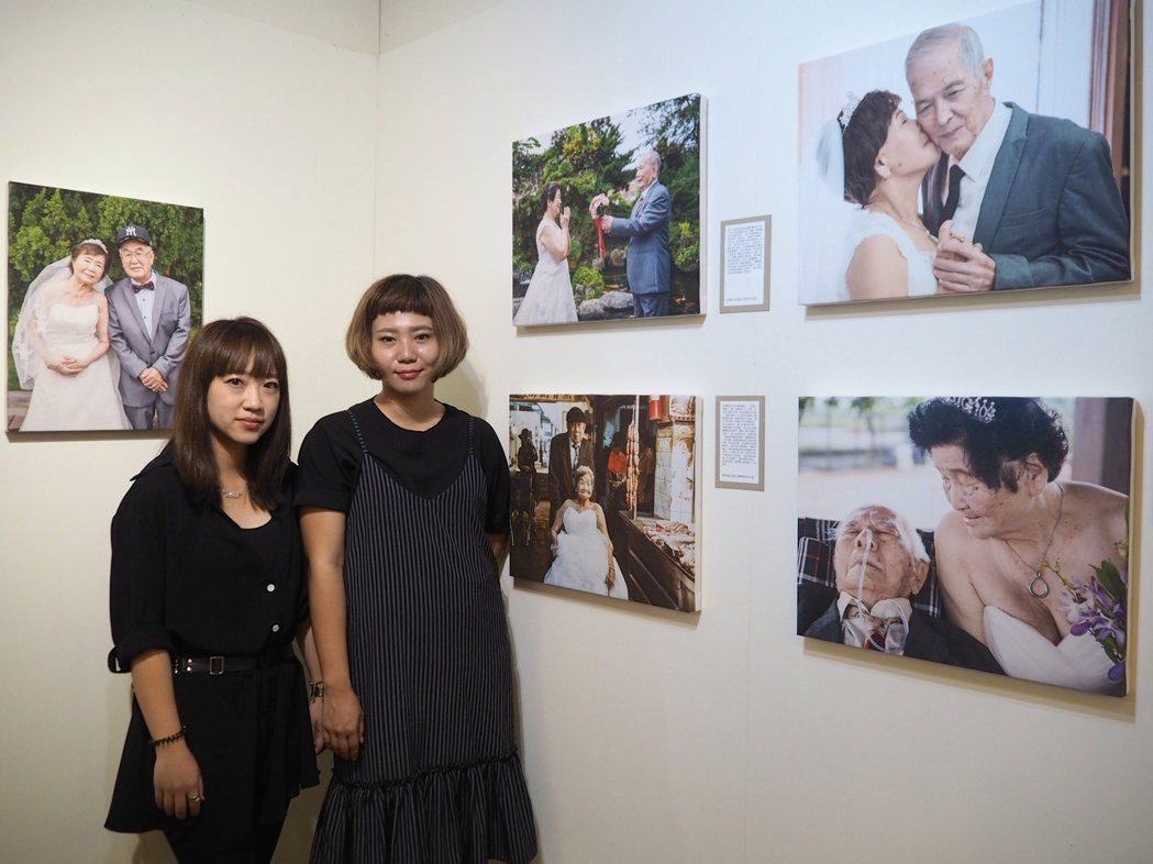 M.G繾綣時光婚紗攝影師江可豫(右起)、造型師Winnie的團隊花3個月時間,幫...