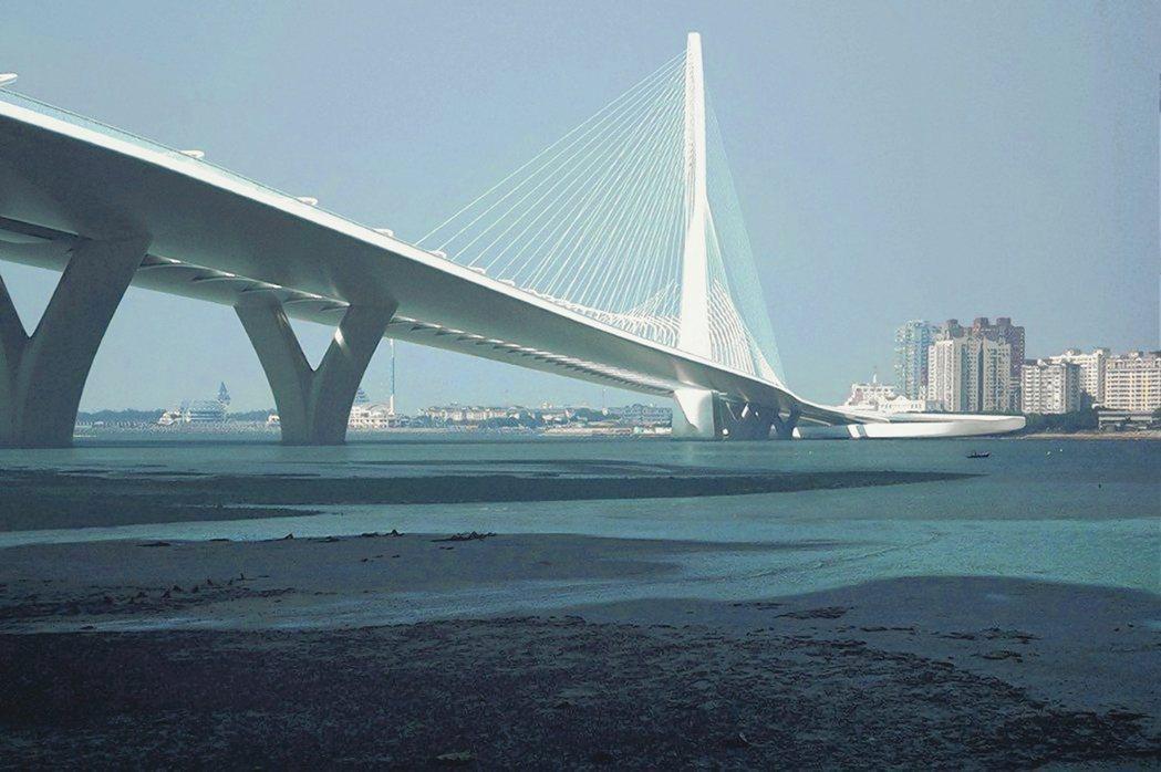 專家評估,淡江大橋若能順利招標,對房市會有較明顯助益。圖為淡江大橋示意圖。 公路...