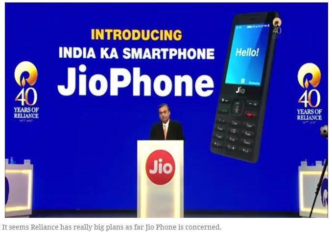 印度首富穆克什旗下信實資訊通信公司推出免費4G手機 Jio Phone ,24日...