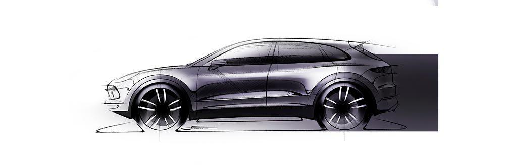 全新Porsche Cayenne手繪稿。圖/Porsche提供