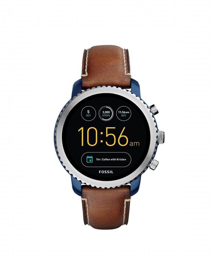 Fossil Q Explorist觸控式螢幕智慧型腕表,棕色皮革表帶,約10,...