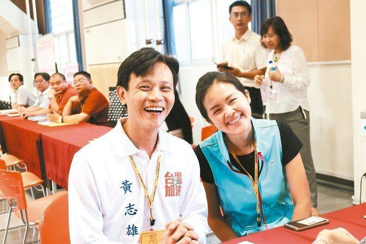 黃志雄(左)與妻子洪佳君是跆拳道界的金童玉女。 圖/報系資料照
