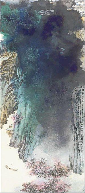 張大千晚年作品《桃源圖》。 網路/翻攝