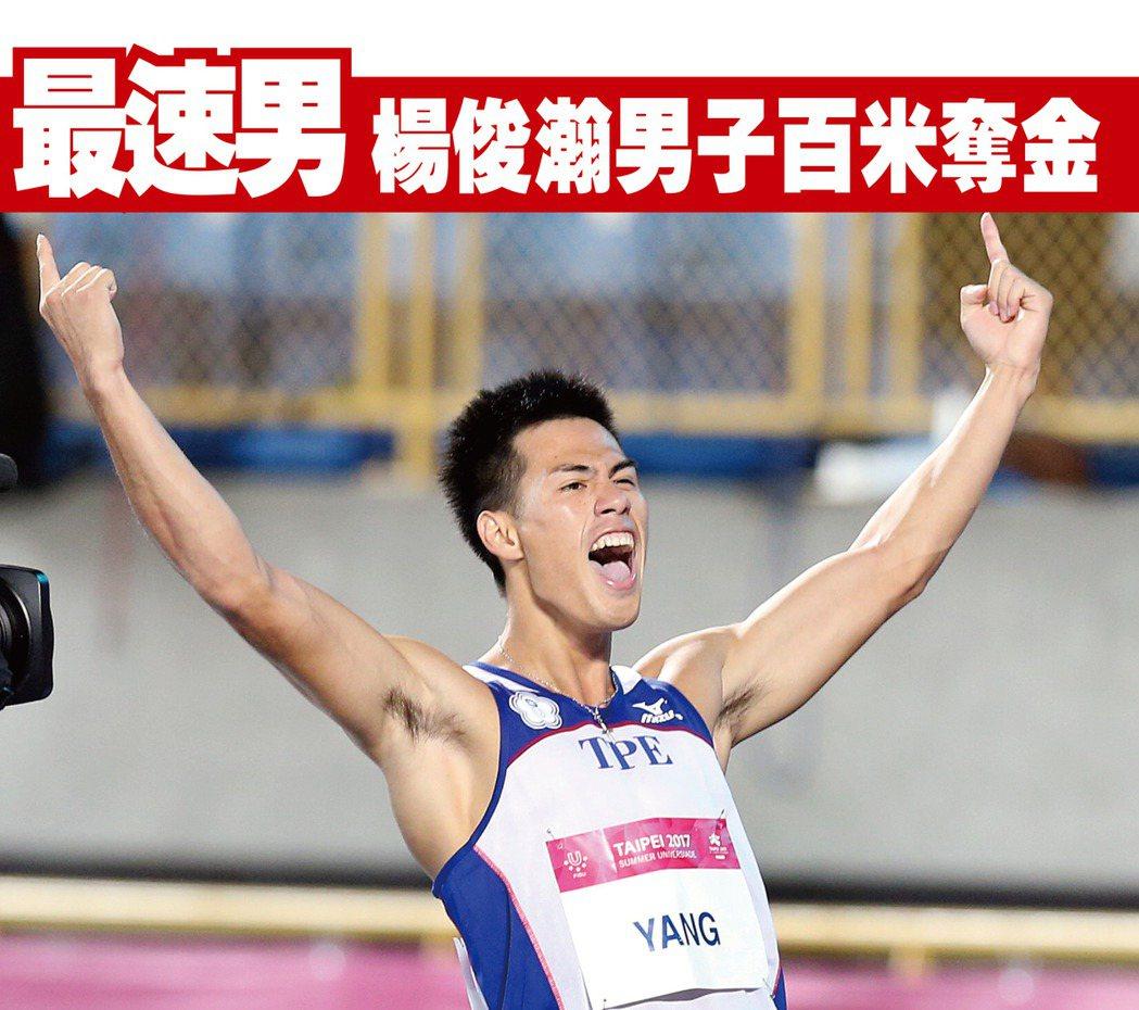 楊俊瀚以10.22秒勇奪世大運男子100公尺金牌,得知奪張開雙臂歡呼。 本報資料...