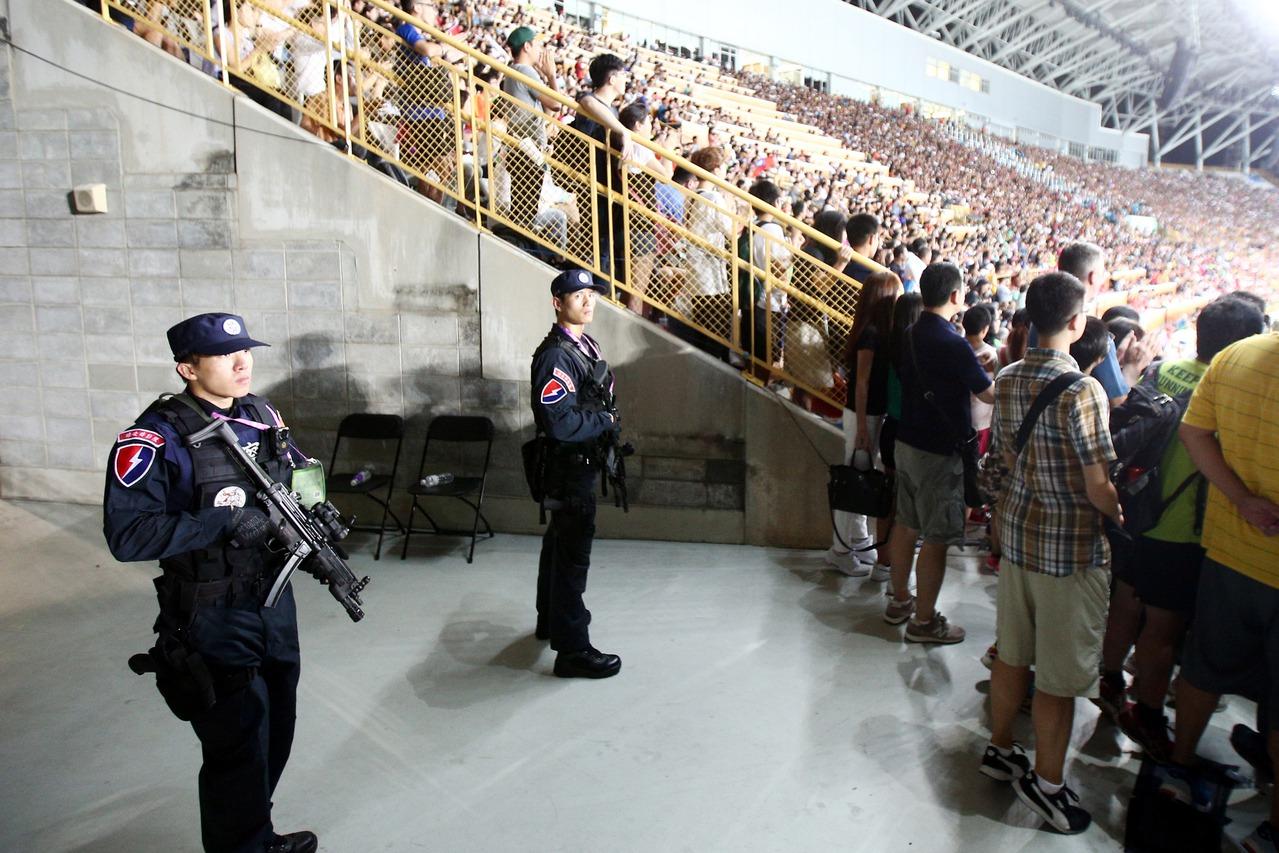 世大運賽場一景。內政部為了加強閉幕式維安工作,安排中央警力前往支援,然卻被爆料指...