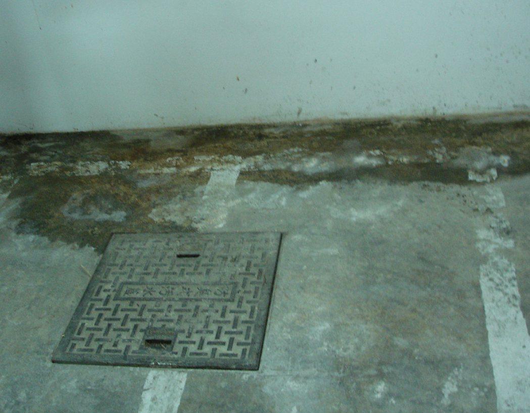 ■地下室樓版與其外牆交接處滲水。