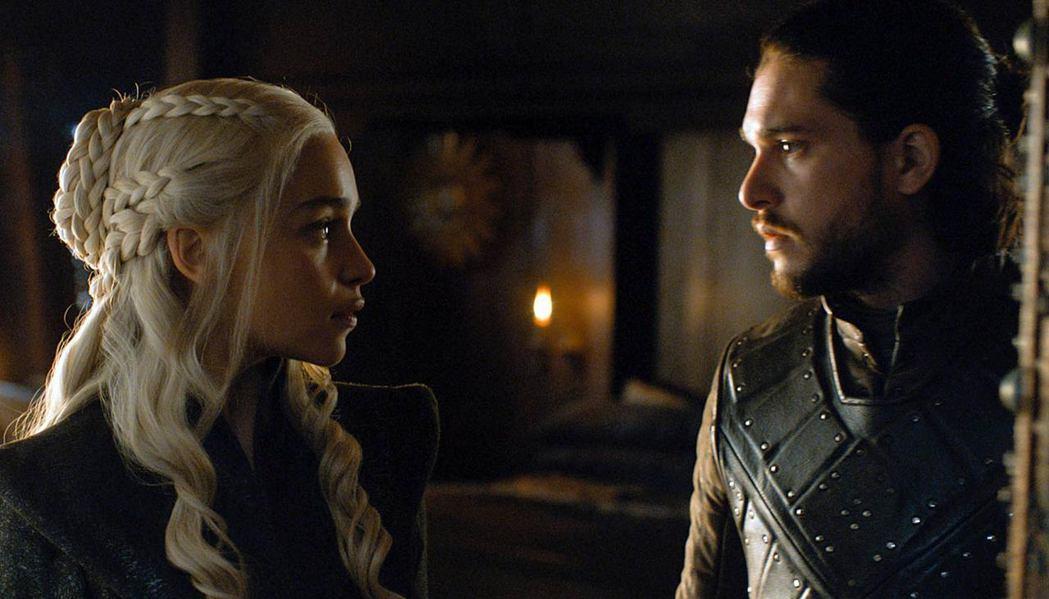 丹妮莉絲與瓊恩雪諾的關係是「冰與火之歌:權力遊戲」第7季完結篇爆點。圖/HBO提...