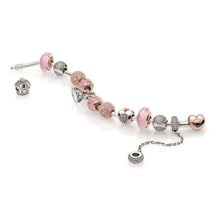 玫瑰金串與粉紅色的組合加乘甜美女人味。圖/PANDORA提供