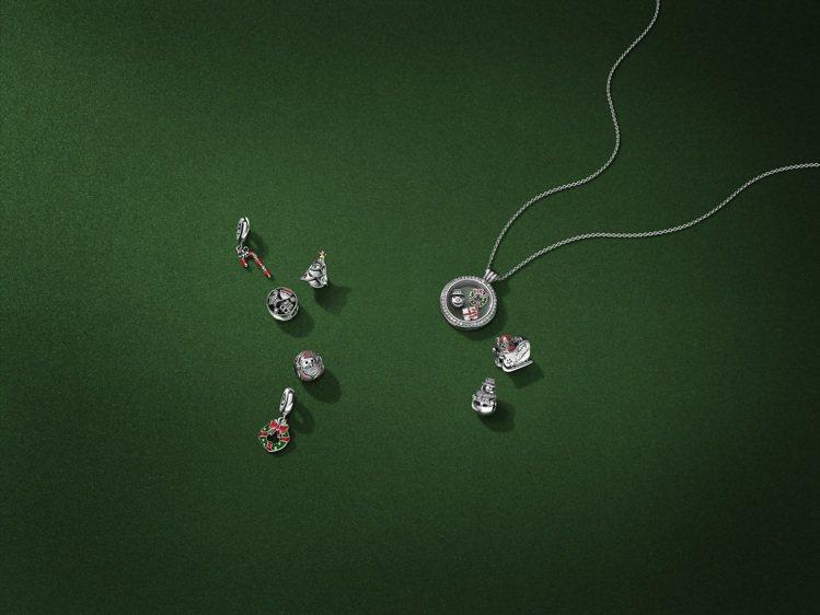 透明珍貴回憶吊墜盒項鍊與耶誕主題小配飾。圖/PANDORA提供
