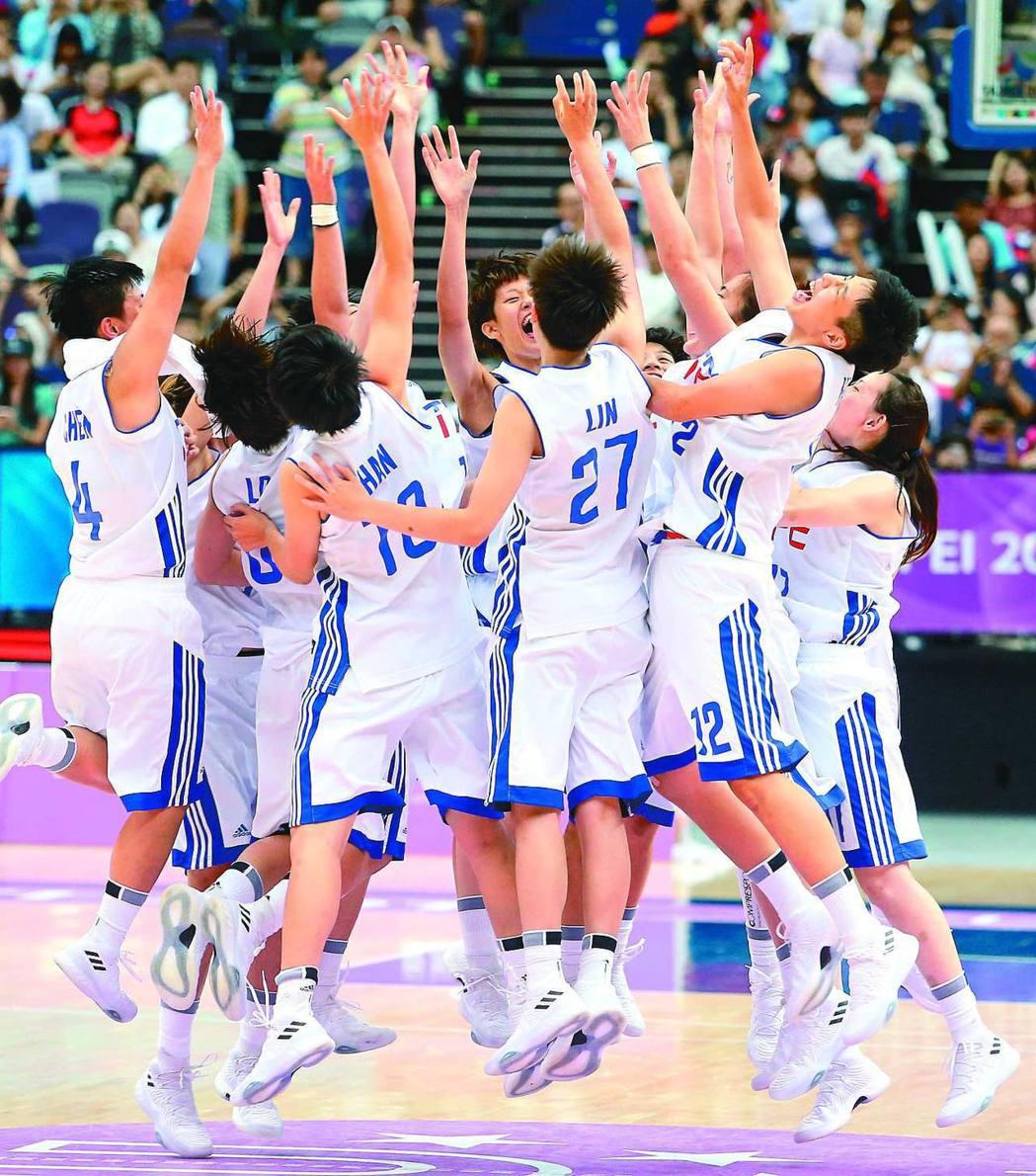 世大運女籃銅牌戰,中華隊上演感動一戰,擊敗俄羅斯隊,球員興奮地在場中跳躍慶賀。 ...