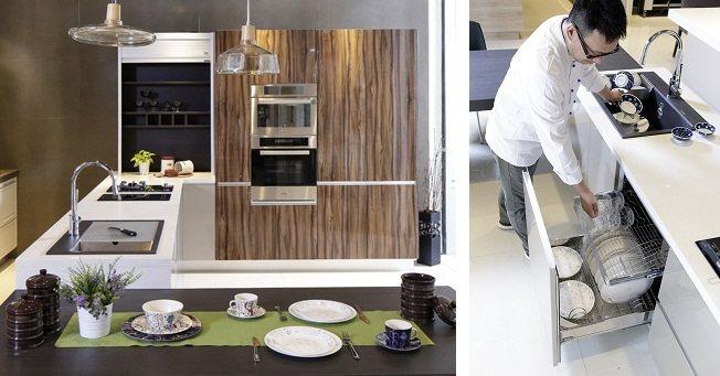 (左)Shinelux系列結合鋁質結合式把手、璀璨麗晶門板、木感材質融合與智慧空...