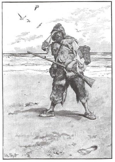 《魯賓遜漂流記》改編自真人真事,圖為原書中的插圖。 圖/大是文化提供