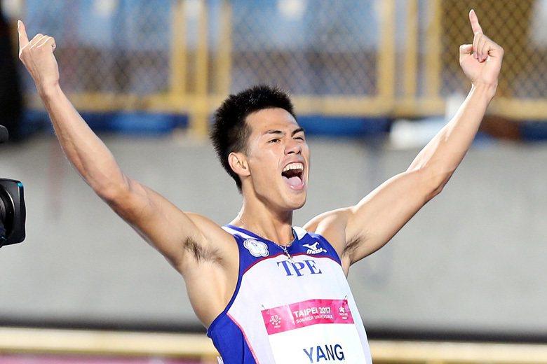 楊俊瀚的100公尺跑出10秒22的成績,雖然以這屆田徑世錦賽的成績參考,只能排在...