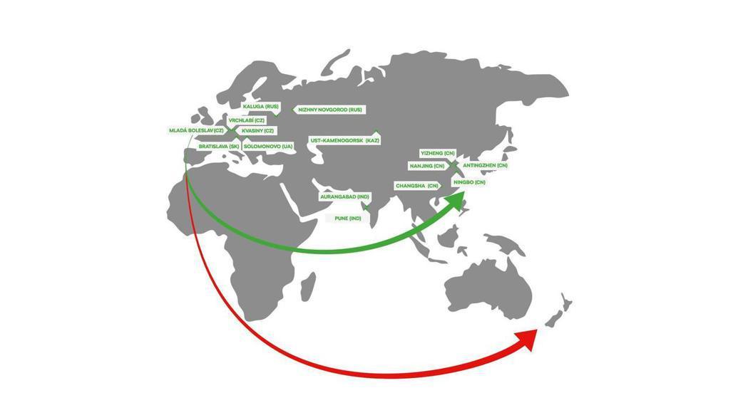 ŠKODA工廠在全球的分佈圖。 摘自ŠKODA